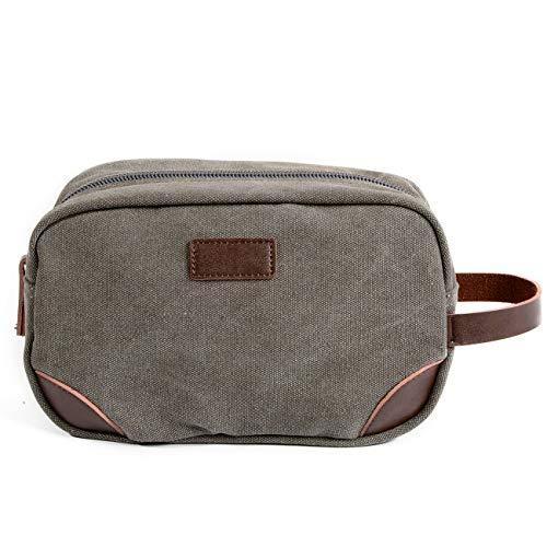 VANYA Lässige Canvas Clutch Business Volltonfarbe Handtasche Rasieren Make-up Kit Aufbewahrung Compact Travel Wash Bag,Gray - Reißverschluss Compact Brieftasche