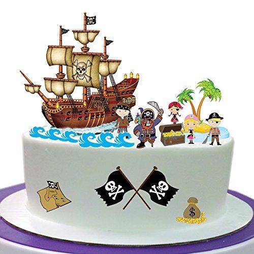 Top That, Piratenszene, aus essbarem Oblatenpapier hergestellt, ideal geeignet für die Dekoration von Geburtstagskuchen - einfach zu verwenden