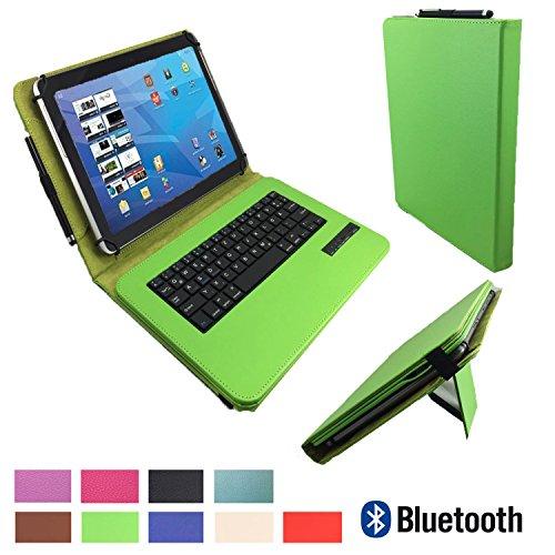xTab Bluetooth Qwertz Keyboard für Blaupunkt Discovery 1000C 108C Schutzhülle Case Cover 10.1 Grün Tastatur