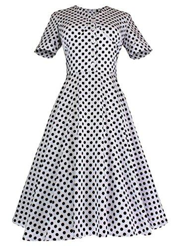MILEEO Damen 50er A-Linie Retro Kleid mit Polka Dot Print Knielang Falten V-Ausschnitt Kurzarm Gr.34-44 Weiß