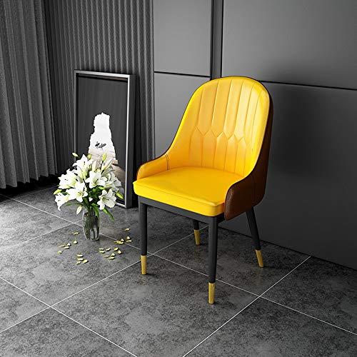 Ygetas Nordic Komfortable Pu-leder Stuhl Stilvolle Weiche Hohe Elastische Schwamm Business Stuhl Esszimmerstuhl Einfache Schlafzimmer Arbeitszimmer Atmungsaktive Stuhl (Color : Yellow)