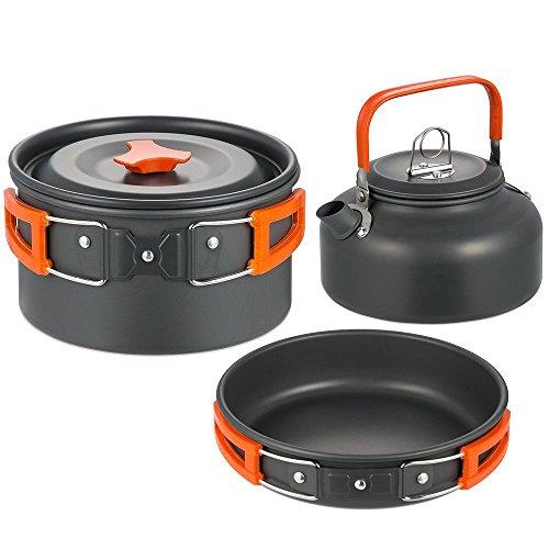 SKYSPER Batería de Cocina para Camping Set de Cocina para Acampada 2-4 Persona Aluminio Utensilios de Cocina al Aire Libre para Camping Senderismo
