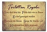 Hochwertiges Metallschild 30 x 20 cm aus Alu Verbund WC Toilette Toiletten Regeln Deko Schild Wandschild