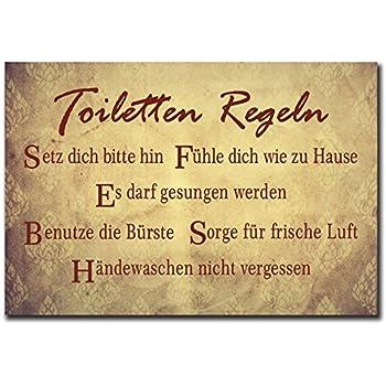 Holzschild mit Spruch – TOILETTEN-REGELN – shabby chic