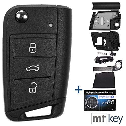 Auto chiave telecomando 1X di 3tasti + 1X Vergine + 1X CR2025batteria per VW Seat Skoda