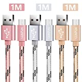 Luvfun [3-Pack] Micro USB Kabel, 1M Nylon USB Ladekabel Schnellladekabel für Android Smartphones (Roségold+Silber+Gold)