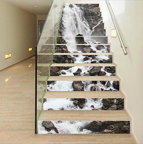 Wasserfall Schublade (Stair Sticker Wandaufkleber DIY 3D Wasserfall Selbstklebend Refurbished Eco-friendly PVC Wallpaper Wandgemälde Art Home Decorations Abnehmbar, einfach zu bewerben, 1 Set (13 Stück))