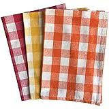 Lushomes Cotton Yarn Dyed Kitchen Towels, 40x60cm (Multicolour, COKTP3_1002) - Set of 3