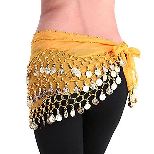 YiLang Damen Bauchtanz Hüfttuch Münztuch Münzgürtel Kostüm Hip Scarf Samba Belly Dance (Gelb)