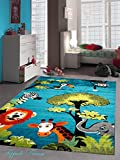 Kinderteppich Spielteppich Kinderzimmer Teppich Zootiere niedliche bunte Tiere mit Elefant