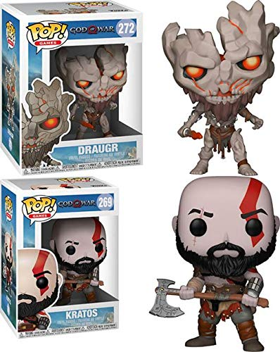 FunkoPOP God of War Playstation 4: Draugr + Kratos – Stylized Video Game Vinyl Figure Bundle Set