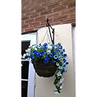 Artificial Flowers Hanging Planter Pot Out Door, Blue with a touch of White Flowers, Flowers , Basket and Bark