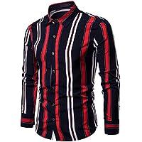 Camisa Slim Fit Casual de Primavera para Hombre Camisa a Rayas de Manga Larga con Botones Top Blusa