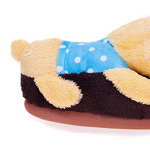 YOUJIA Adulte Chaussons animaux Peluche Hiver Chaud Pantoufle Chaussure d'intérieur - Homme et Femme - Taille: 34-38 Ours