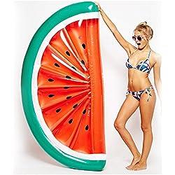 Flotador inflable, Hansemay gigante piscina inflable de PVC piscina flotante de drenaje de la cama / anillos de natación / Premium Lanchón de la balsa / agua recreación silla de ocio para adultos y niños (sandía)