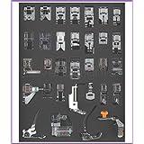 cleverdelights–Juego de 32Pies de costura Presser Collection–para Brother, Babylock, Singer, Janome, Elna, Toyota, New Home, simplicidad, Necchi, Kenmore, Blanco y baja para máquinas de coser