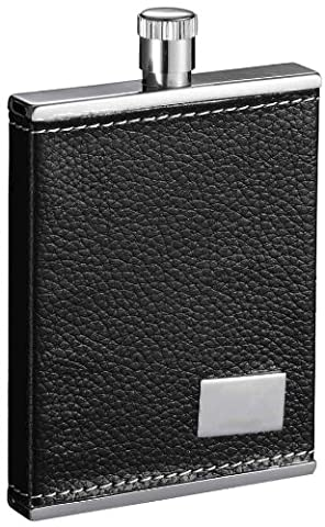 Visol Tanha Leatherette Stainless Steel Hip Flask, 3-Ounce, Black by Visol