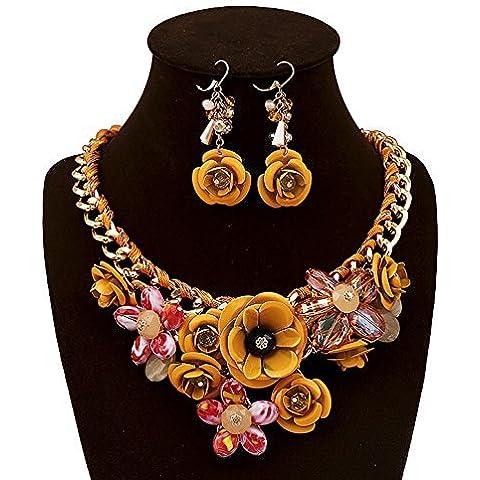 El collar y el pendientes conjunto con Flor de cristal estilo retro