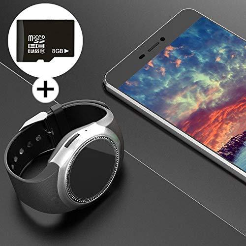 ZXCVBW Smart Watch Männer Android mit Touchscreen p20 SIM-Karte Dial Call relogio Smartwatch Uhr mit Whatsapp Facebook Fitness-Tracker, grau 8 GB SD-Karte hinzufügen