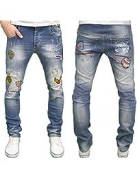 Juice Generation Mens Designer Branded Badge Detailed Slim Fit Jeans