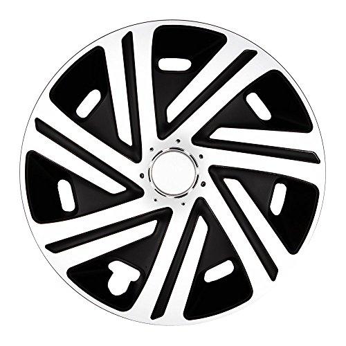 (Größe und Farbe wählbar) Radzierblenden 14 Zoll - CYRKON (Schwarz-Weiß) passend für fast alle Fahrzeugtypen (universell)! (Reifen Für Toyota Sienna)