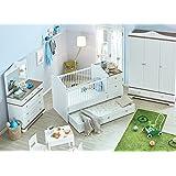 Baby Kinder Bett Gitterbett Golf / das Bett das mit Ihrem Kind mit wächst Inkl. Kommode und Wickelablage / 7 Jahre Garantie