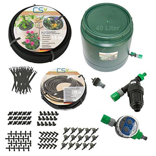 CS Mikro 15m Bewässerungs-Set Z3.17 Blumentopf, Pflanzkübel, Terrassen- und Urlaubsbewässerung mit 40l Vorratsbehälter