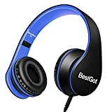from BestGot BestGot Headphones Over Ear Kids Headphones with Microphone Volume Control Lightweight Noise Isolating Headsets with Detachable 3.5mm Cable for Apple Android Smartphone Tablets Laptop (Black/Blue) Model bbheadphones002