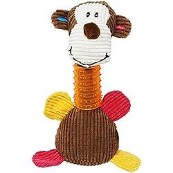 Dientes de limpieza de juguete de perro masticar juguete de felpa Monkey Squeaky Toy para grandes a pequeños perros