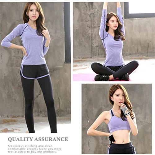 REALLION Set da yoga 3 pezzi donna (T-shirt a manica lunga + reggiseno sportivo + pantaloni) Abbigliamento sportivo fitness da palestra ad asciugatura rapida Viola