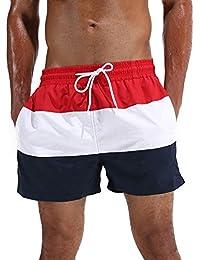 Arcweg Homme Short de Bain Bermuda Séchage Rapide Garçons Court de Plage Sport Natation Casual 12 Ans et Plus avec Cordon Réglable Élastique Tailles 38-46