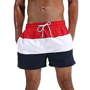 Arcweg Pantaloncini Uomo Ragazzo Calzoncini da Bagno Costumi Mare Surf Boxer 100% Poliestere Asciugatura Rapida Pantaloncini da Spiaggia Piscina Rosso Etichetta M