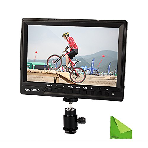 Feelworld FW760 FW-760 4K HDMI Output 7'' Video Monitor IPS Full HD 1920x1200 HDMI 1080p with Sunshade and MINI HDMI, Macro HDMI for BMPCC Dslr Camera Canon Sony with EACHSHOT Cleaning Cloth