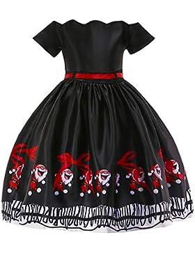 Beikoard Kleinkind Kinder Baby Mädchen Santa Print Prinzessin Kleid Weihnachten Outfits Weihnachtsmann Schneemann...