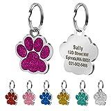 Berry 24mm Edelstahl pesonalized ID-Tags für Hunde und Katzen, Pfotenabdruckmotiv, gratis Laser engrved