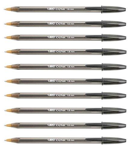 Bic - 10 bolígrafos grandes de 1,6 mm - Color negro - Trazo grueso