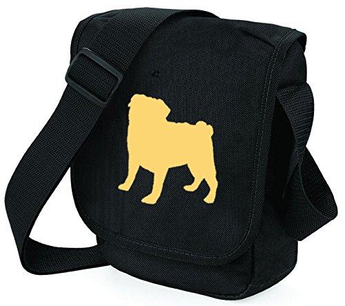 Bag Pixie - Borsa a tracolla unisex adulti Cream Dog on Black Bag