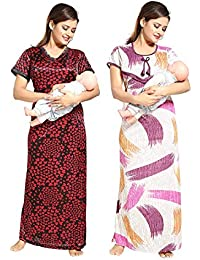 d79bae8830 TUCUTE Women Beautiful Heart Print Satin with Invisible Zip + Strips Print  Feeding Maternity Nursing Nighty Night Gown Night…