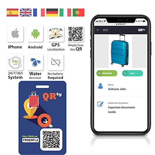 QR4g.com GPS: Placa identificativa inteligente MALETAS
