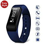 SMBOX Smart Fitness Tracker Watch Activity Tracker Waterproof Strap As Step Calories Counters, Sleep Monitor, Call/SMS Reminder, Fitness Watch Built-in USB Charger For Women Men Kids (Blue)