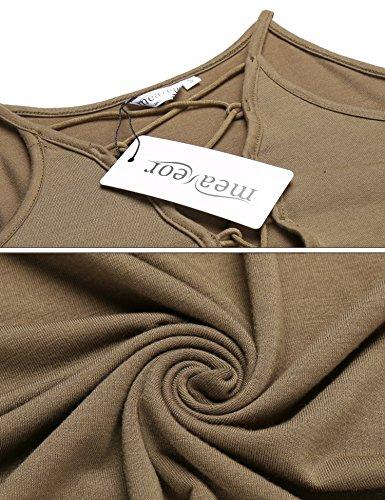 cooshional Damen Sommer Kurzarm T-Shirt V-Ausschnitt mit Schnürung Vorne Schulterfrei Oberteil Tops Bluse Shirt Khaki