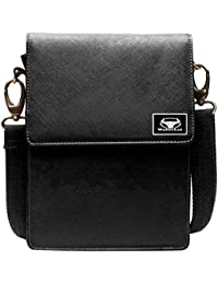 WalletLee Black Color Unisex Genuine Leather Sling Bag
