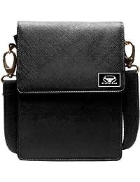 WalletLee Black Color Unisex Genuine Leather Sling Bag