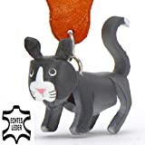 Monkimau Bombay Katze-n Leder Schlüssel-anhänger Deko-Figur 3D Charm-s Kinder Mädchen Damen Geschenk-e schwarz 5cm Glückskatze-n