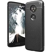 CASE U® Moto E5 Plus Leather Design Armor Back Cover for Moto E5 Plus (Moto E5 Plus, Black)