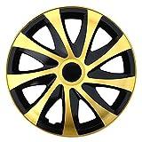 (Größe wählbar) 16 Zoll Radkappen / Radzierblenden DRACO Bicolor (Schwarz-Gold) passend für fast alle Fahrzeugtypen – universal