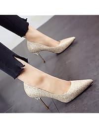 FLYRCX Européen de printemps et d'été a fait sexy chaussure daim daim unique personnalité élégante et simple talon haut Chaussures de travail chaussures de travail,37,c