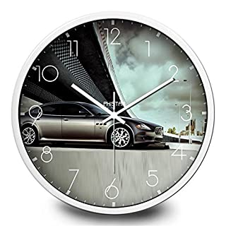 Im europäischen Stil Sports Car Wanduhr Wohnzimmer-Wand-Mute Uhr Auto-Shop Hallenwand Runde Metall große hängende Tisch , white , 14 inch