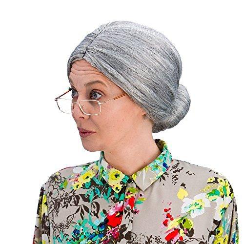 Großmutter Oma Grauer Dutt Perücke Verkleidung Party Fasching Kostüm ()