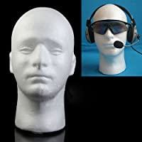 Mannequin Head clifcragrocl,Male Mannequin Styrofoam Foam Manikin Head Model Wig Glasses Hat Display Stand - White